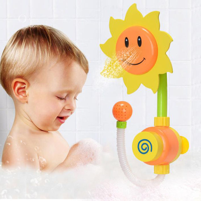 Baby water Bath toys Sunflower Water Shower Spray Bathroom toys ...