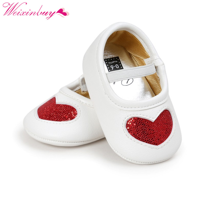 2019 Hot Children Shoes First Walker PU Leather Soft Bottom Baby Princess Shoes Baby Girl Party Shoes Ins New Love Pinted