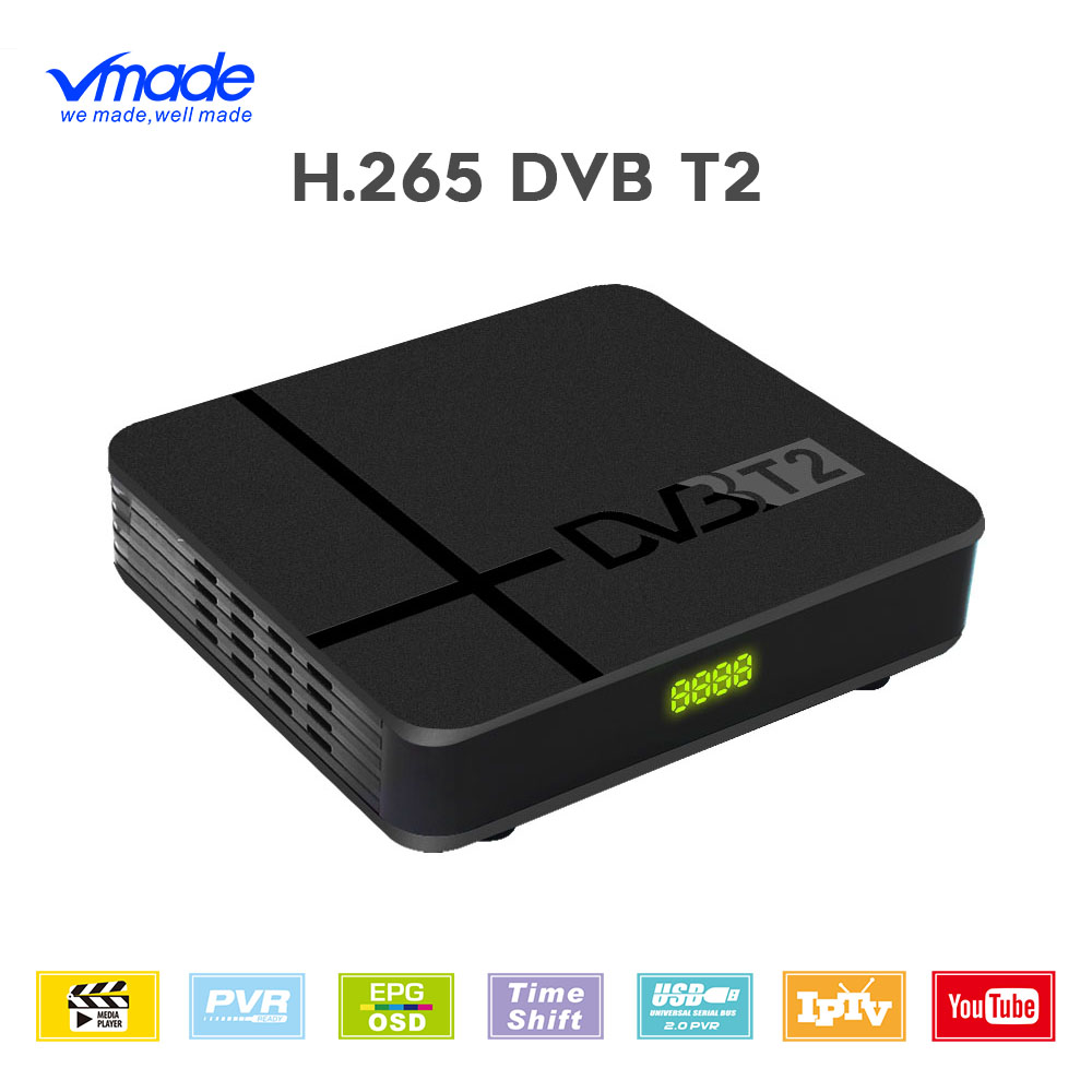 Vmade HD 1080 Digital TV Tuner DVB-T2 H.265/HEVC Terrestrial Receiver Built-in RJ45 Support Dolby AC3 Youtube Mini Set-Top Box