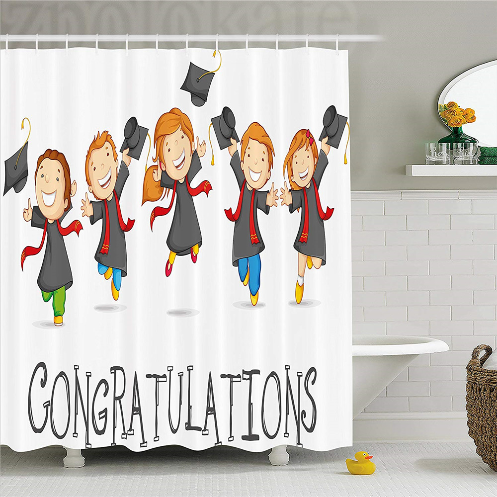 Graduation Decor Shower Curtain, Happy Children Jumping Clever Smart Kids Preschool Kind ...