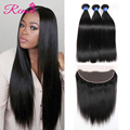 8A Peruvian Virgin Hair With Closure Peruvian Straight Human Hair With Closure 13x4 Ear To Ear Lace Frontal Closure With Bundles