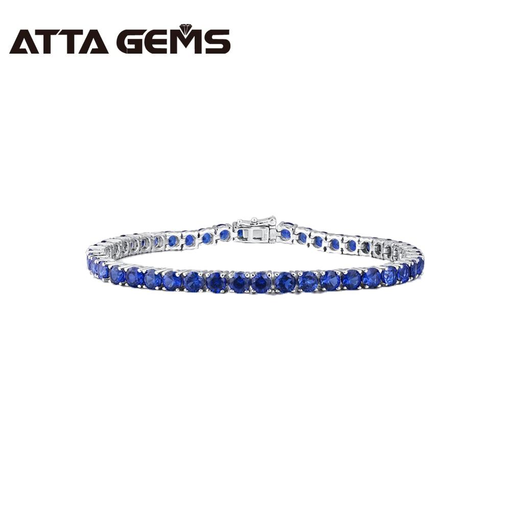 Синий сапфировый Серебряный браслет для женщин Теннисный браслет Свадебная вечеринка 15 карат 45 шт. создан синий сапфир роскошный стиль
