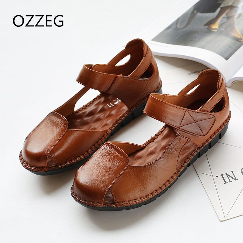 Woman Sandals Genuine Leather Shoes Soft Summer Sandals Casual Women Shoes Breathable Leather Sandals Ethnic Flats Hook & Loop summer sandals women leather breathable mesh outdoor super light flats shoes all match casual shoes aa40140