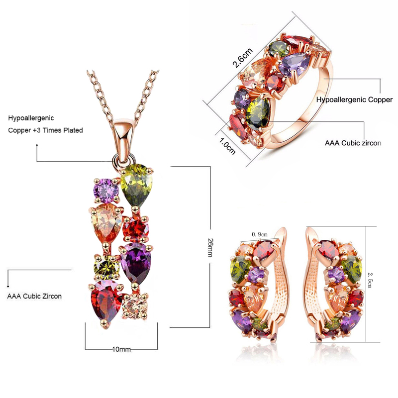 Three-piece Necklace Earrings Ring Set Jewelry Bridal Accessories Mona Lisa Colorful Shi ...