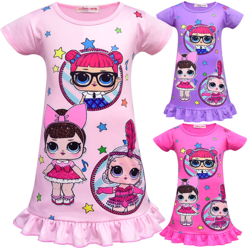 New arrival girls lol Doll Dress Party Holiday Children Clothes Princess baby Girl Dresses home clothing pajamas costume kids 2018 toddler girls dress fashion princess tutu dresses holiday big bow bling baby clothes kids clothing new arrival