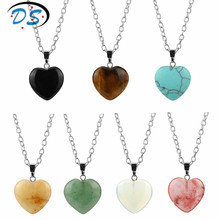 1 PC 7 Colors Pink Heart Stone Necklace Collares Female Costume jewelery Charms Pendants chain choker necklace Valentine's Gift