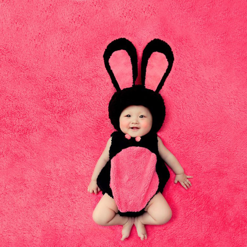 2018 summer hot sale newborn baby cute pink bunny photography props baby costumes clothes for infant girls cute cartoon rompers