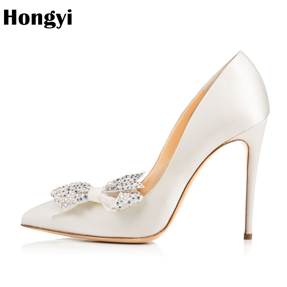 Hongyi New Rhinestone High Heels Shoes Women Pumps Pointed toe Woman Crystal Wedding Shoes 10cm heels big plus size