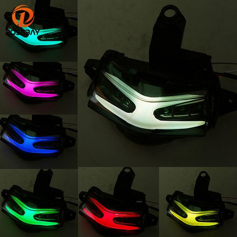 POSSBAY Moto Feu Arrière LED Coloré 12 v Warterproof Moteur Tail Lumière De Frein Lampe Clignotants Lumières Pour Yamaha NVX155