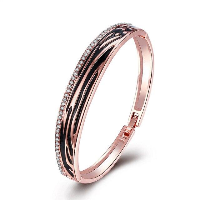 Ethnic Style Vintage Romantic Plated Rose Gold Enamel Black With White Rhinestone Round Bracelets & Bangles For Women Jewelry
