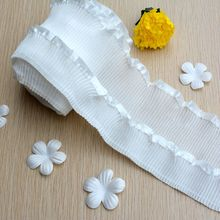 1M Elastic Pleated Guipure Lace Ribbon White Fabric Trim 7cm Sewing Decorations For Clothes Craft Supplies dentelle VG1