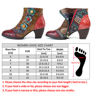 Image 3 - Socofy Vintage Bohemian Printed Winter Boots Women Shoes Woman Genuine Leather Splicing Handmade Flower Women Ankle Boots Botas