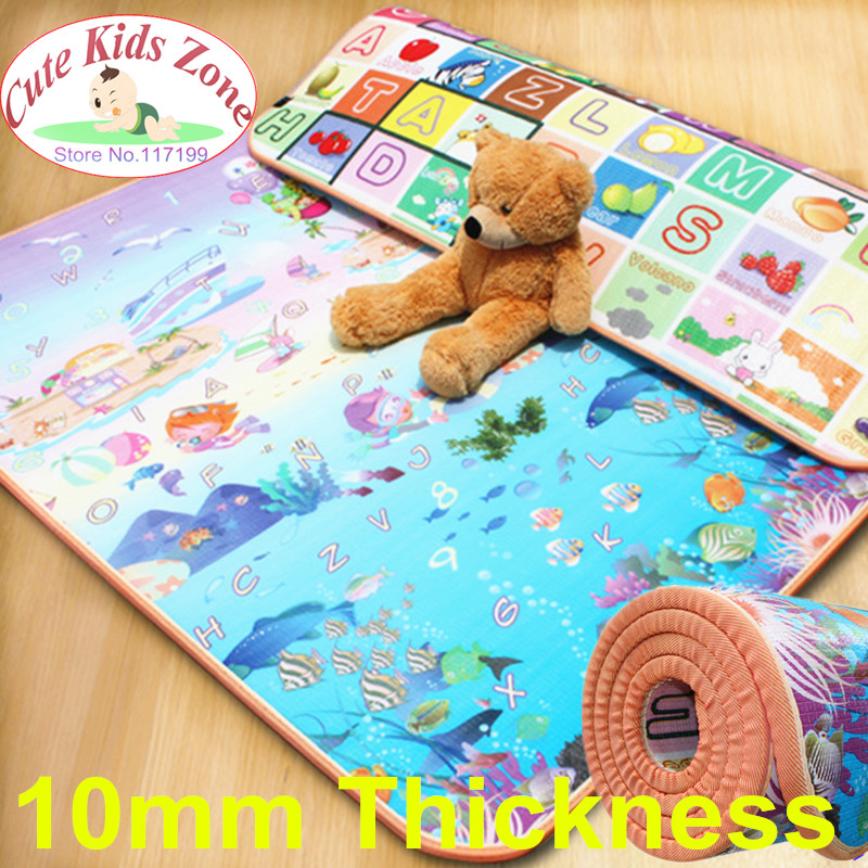 10mm Thick Child Beach Mat Picnic Carpet Rug Kids Play Mat Fruit Letters And Sea World Baby Crawling Mat CM-0215 цена 2017