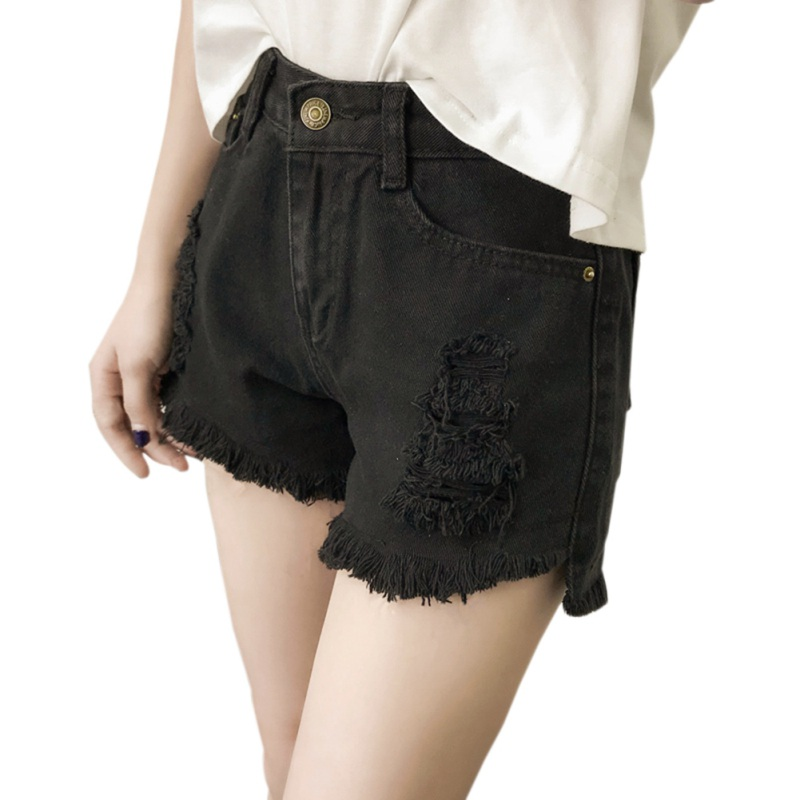 2XL Girls Casual Pockets Zipper Female Short Jeans Ripped New Fashion Women Hot White Black Solid Woman Color Denim Shorts