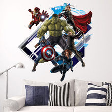 Super Hero Avengers Hulk Peel and Stick Wall Sticker Kids Room Stickers Cartoon Decals Home Decor Wallpaper Poster Y007(China)