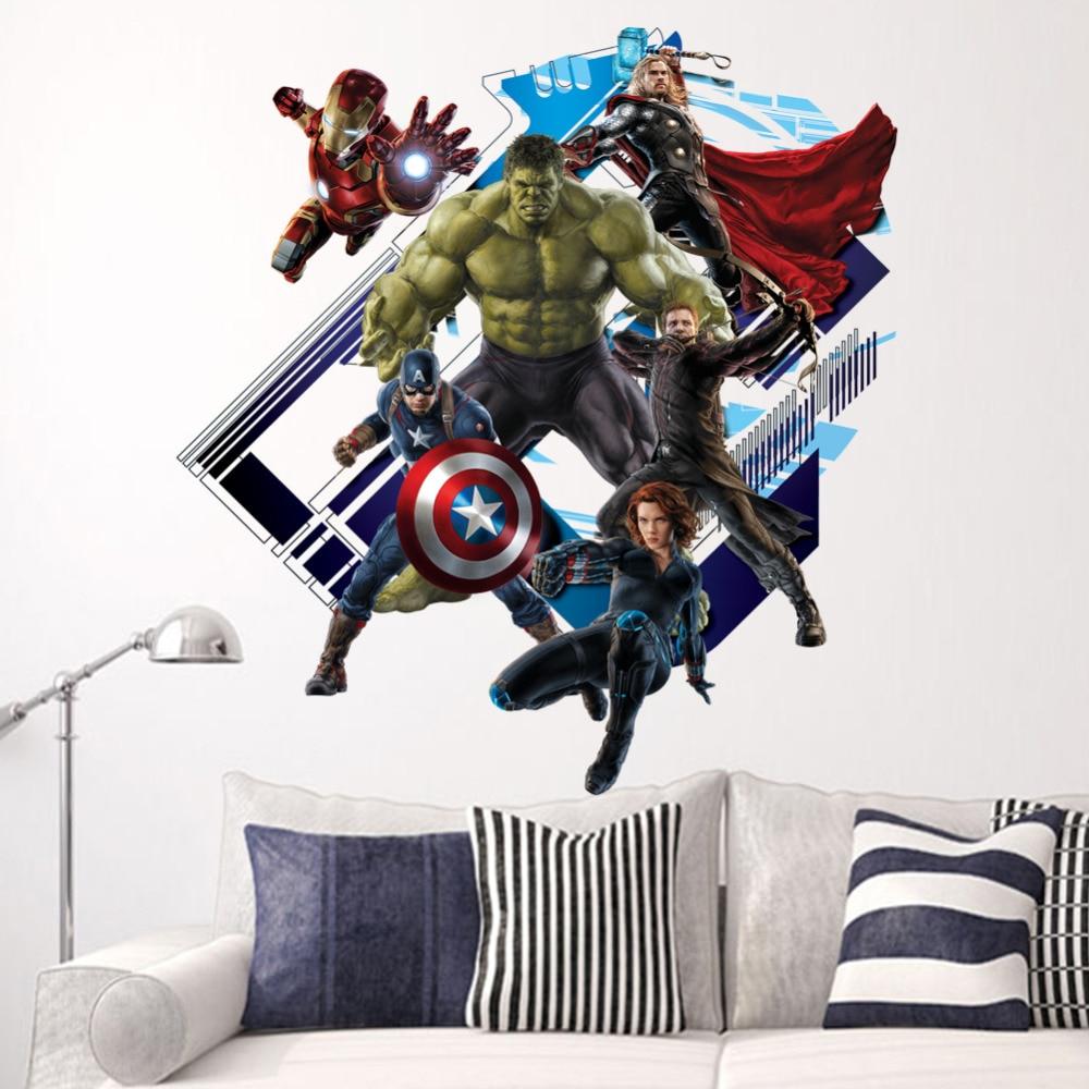Super Heroi Vingadores Hulk Casca E Vara Adesivos De Parede Quarto