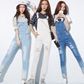 Hot Sale Girls Denim Overalls Casual Ripped Hole Suspender Jeans Trousers Comfortable Full Length Pants Jumpsuit