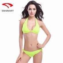 SWIMMART bikin solid color classic hanging neck swimsuit candy color code bikini sports women bikini push up swimming suit for christina skye code name bikini