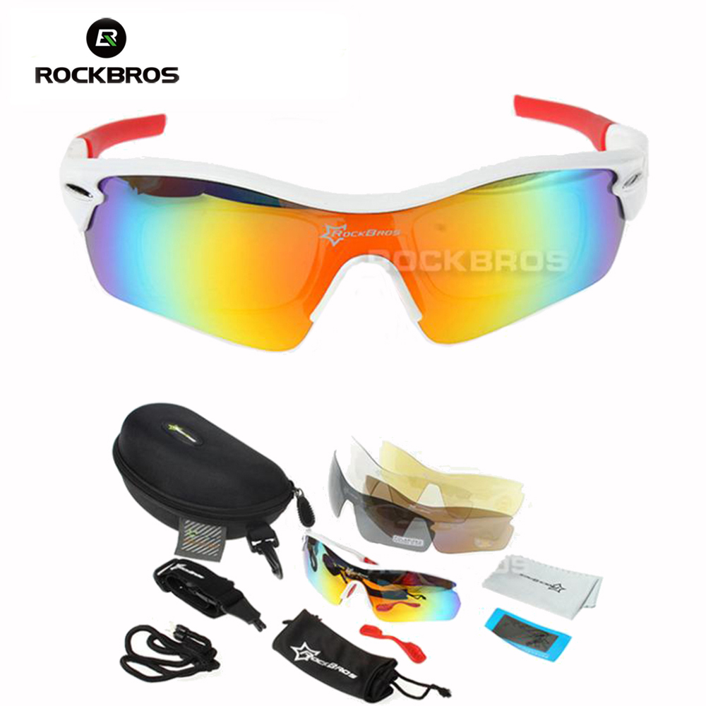 Hot! RockBros Polarized  Sun Glasses Outdoor Sports Bicycle Glasses Sunglasses TR90 Goggles Eyewear 5 Lens #10005 gurensye brand new design big frame colourful lens sun glasses outdoor sports cycling bike goggles motorcycle bicycle sunglasses