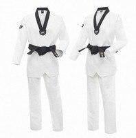 Moo TaeKwonDo Dobok Uniform Korea WTF Red Black or Black V Neck TKD Uniforms Karate Clothes WTF Approved Taekwondo Uniform