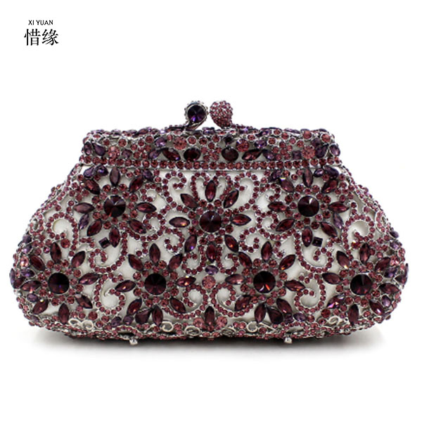XIYUAN BRAND Flower Hollow Out Crystal Evening Wedding Prom Box Clutch Handbag Purse Metal Hard Case Clutches Bag silver gold pink crystal flower floral fashion wedding bridal hollow metal evening purse clutch bag case box handbag smyzh e0093