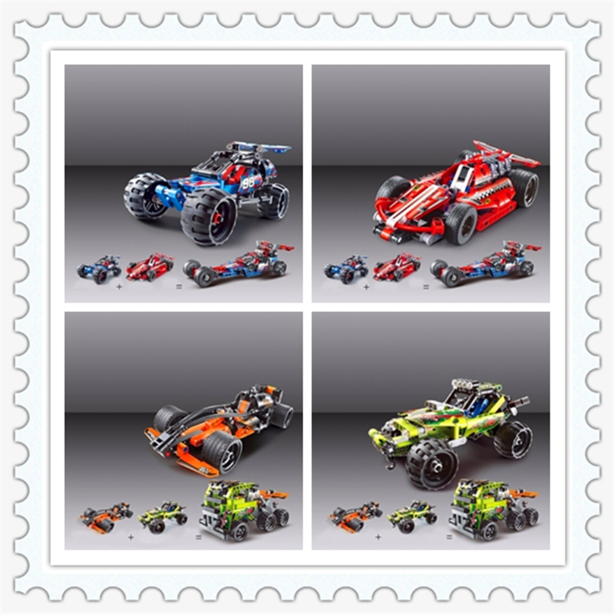 4 In 1 Warrior Off-roader Racer Pull Back Technic Car Model Building Block Toys KAZI Figure Gift For Children Compatible Legoe lepin 22001 pirate ship imperial warships model building block briks toys gift 1717pcs compatible legoed 10210