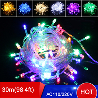 Free Shipping 9 Colors LED String Light Waterproof Wedding Decoration Lights 30m 300leds 110V Christmas Tree