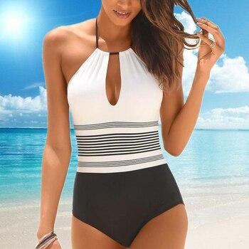 Sexy feminino maiô de uma peça alta pescoço biquíni 2019 novo recorte maiô plus size mulheres monokini verão praia xl