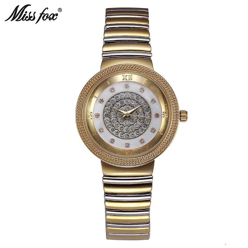 Miss Fox Brand Luxury Fashion Women Watches Bracelet Dress Watch Women Rhinestones Quartz Wristwatches Gold Clock Relojes Mujer