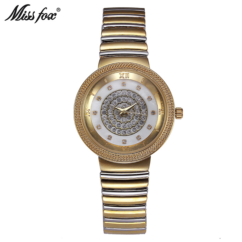 Miss Fox Brand Luxury Fashion Women Watches Bracelet Dress Watch Women Rhinestones Quartz Wristwatches Gold Clock Relojes MujerMiss Fox Brand Luxury Fashion Women Watches Bracelet Dress Watch Women Rhinestones Quartz Wristwatches Gold Clock Relojes Mujer