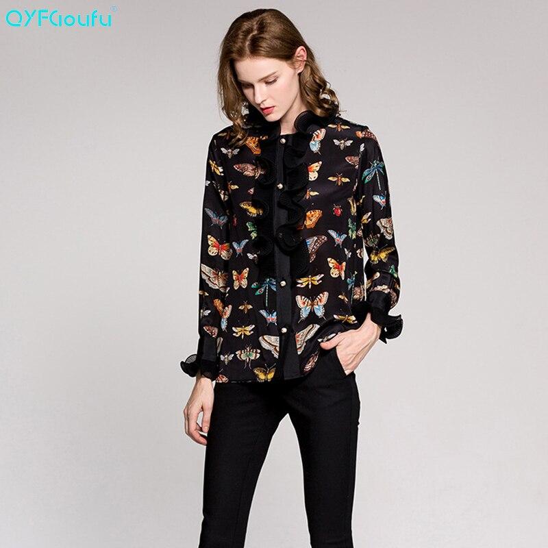9088f198695dd Aliexpress.com : Buy QYFCIOUFU Womens Long Sleeve Chiffon Ruffle Blouses  2018 Fashion High Quality Summer Black Printed Plus Size Tops Shirt XXXL  from ...