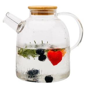 Image 5 - Tetera grande de cristal de borosilicato transparente, 1L/1,5 l, resistente al calor, grande, transparente, juego de té de flores, hervidor de agua, herramienta para el hogar y la Oficina