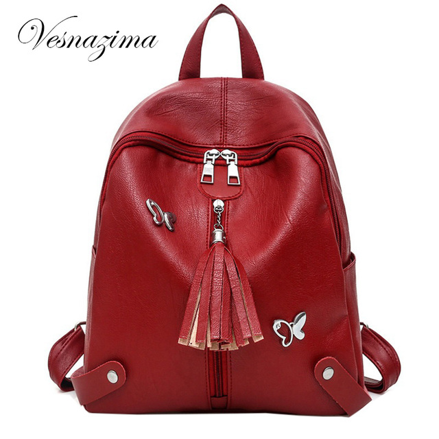 db782828035a VZ pu leather backpack for girls red small rucksack lady bag mini backpack  female backpacks women s bag back casual knapsack