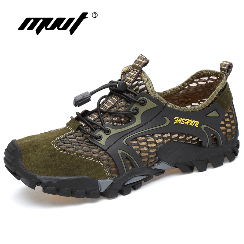 Summer Breathable Men Hiking Shoes Suede + Mesh Outdoor Men Sneakers Climbing Shoes Men Sport Shoes Quick-dry Water Shoes(China)