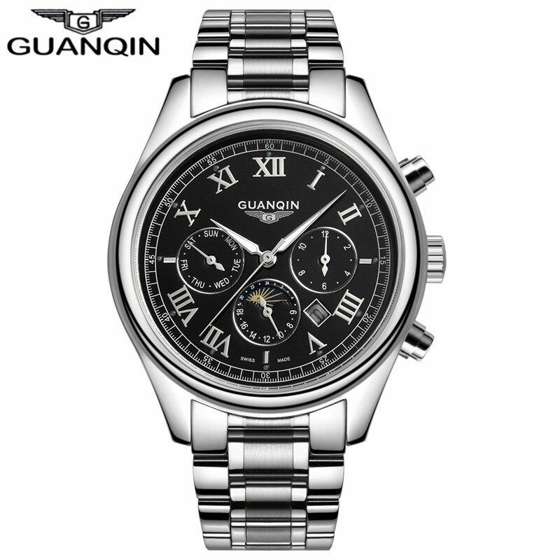 ФОТО GUANQIN GQ12002 Relogio Masculino Luxury Brand Watch Fashion Quartz Watches Men Stainless Steel Relojes Clock
