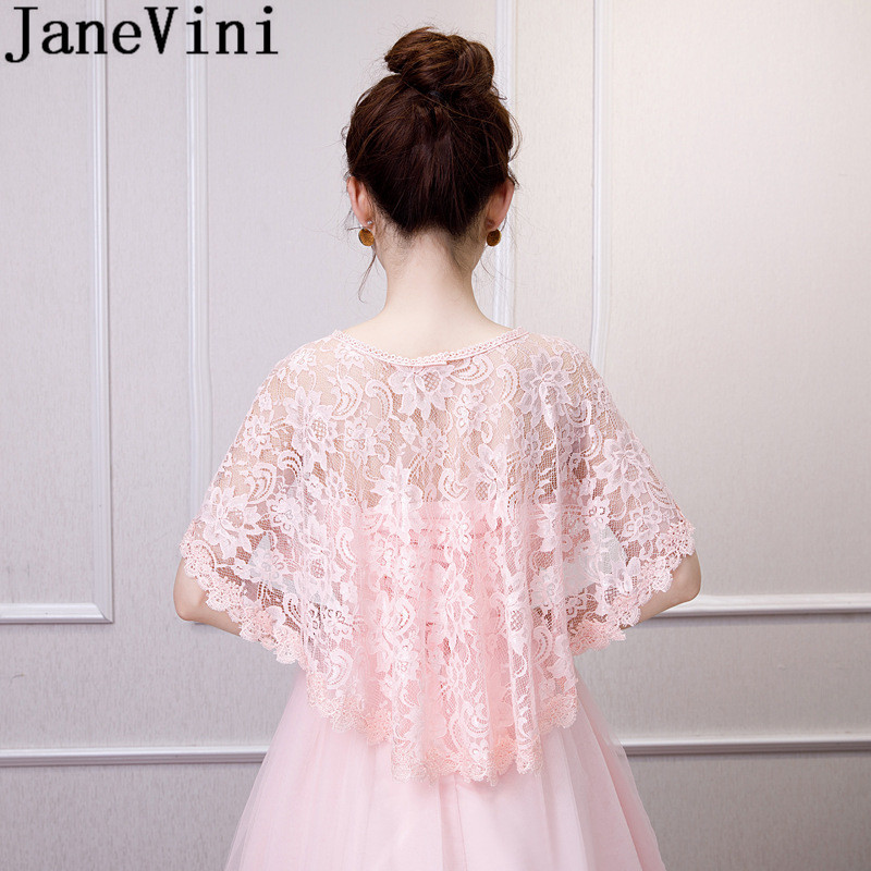 Купить с кэшбэком JaneVini 2019 Lace Bridal Bolero Novia Girl Women Cape Wedding Shawl Boleros Cloak Party Prom Dress Wraps Jackets Red Pink Black