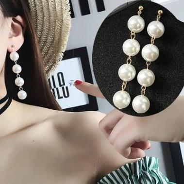 Trendy Elegant Big Simulated Pearl Long Earrings For women Pearls String Statement Dangle Drop Earrings For Wedding Party Gift