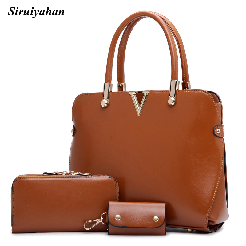 Siruiyahan 3 Pieces Set Female Bags Handbags Women Famous Brands Patent Leather Shoulder Bags Women Big Tote Bolsas Feminina faux leather minimalist practical 3 pieces tote bag set page 3