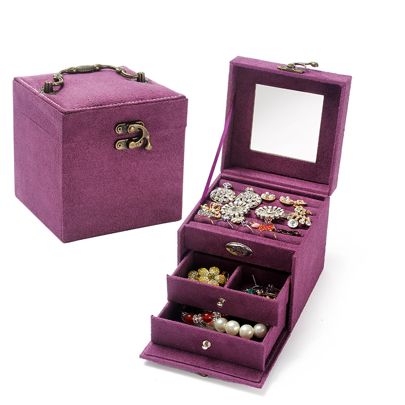 Retro Europe Multi-tier Jewelry Storage Box Portable Travel Three Drawer Jewelry Storage Organizers Drawer Elegant Wedding Gifts
