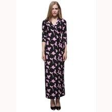 Miranda Kerr Dress 2019 Summer Beach Wear Women V-Neck Cropped Sleeve Print  Maxi Wrap 1d4d1204fb07