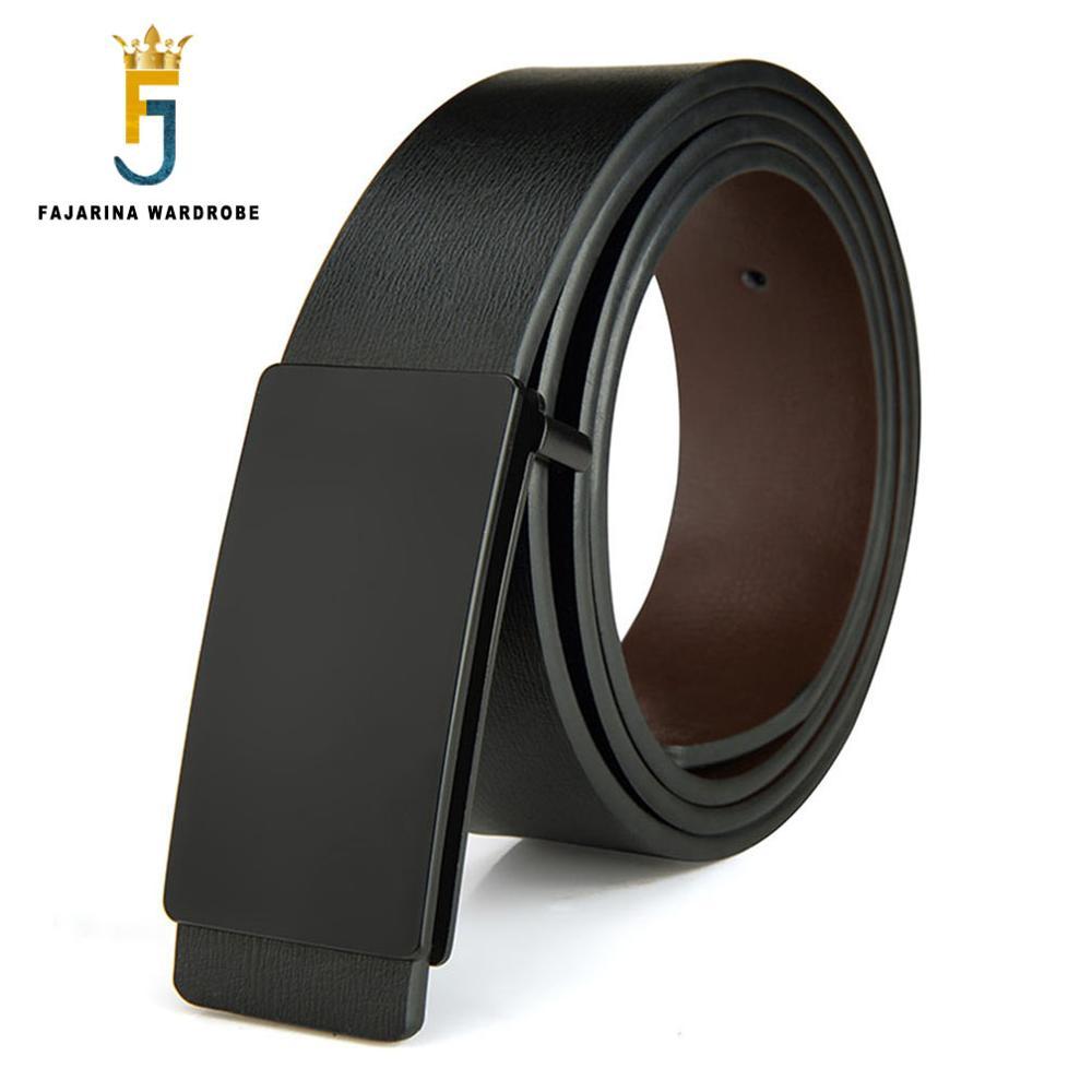 FAJARINA Brand Men's Quality Design PU 2nd Layer Genuine Leather Black Fashion Belts Male Jeans Belt Apparel Accessories for Men
