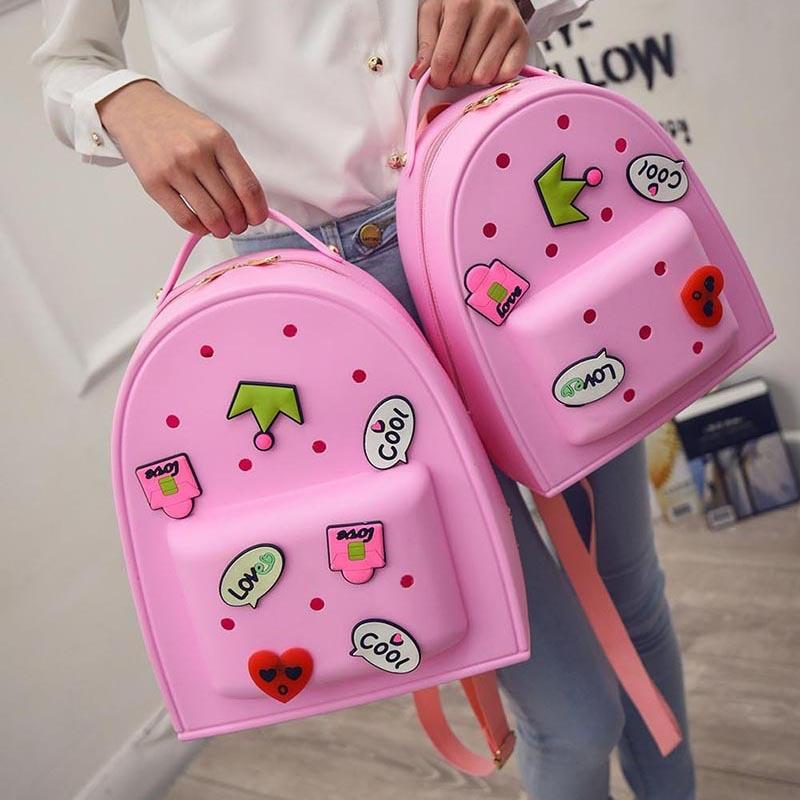 2018 Candy Color Women Backpacks for Teenage Girls Causal Sweet Cartoon EVA Satchel Children School Bags Travel mochila feminina sweet candy color and letter design satchel for women