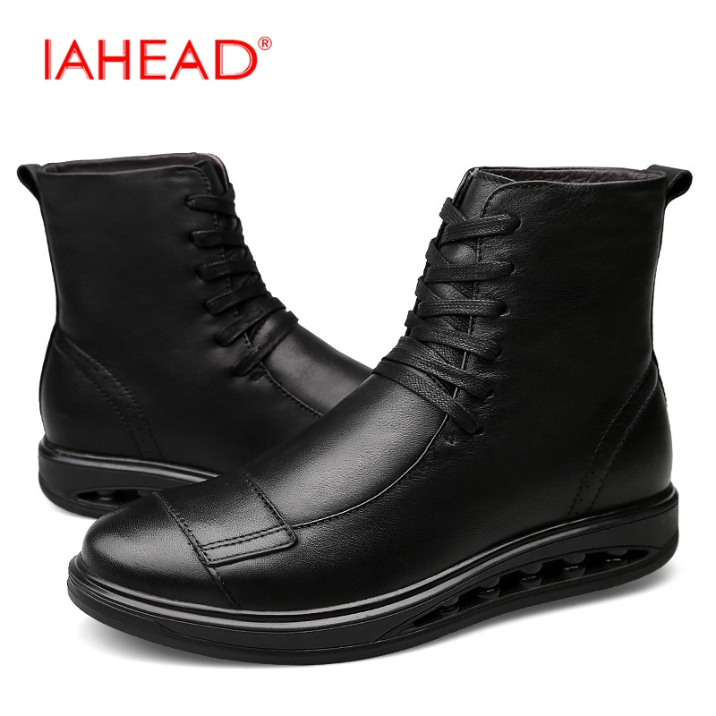 IAHEAD Men Boots Ankle Lace-Up Military Boots High Quality Genuine Leather Shoes Men Fashion Winter Shoes Cowboy Boots MH547 iahead men boots genuine leather casual shoes lace up winter shoes men high quality mens tactical boots botas hombre mu541