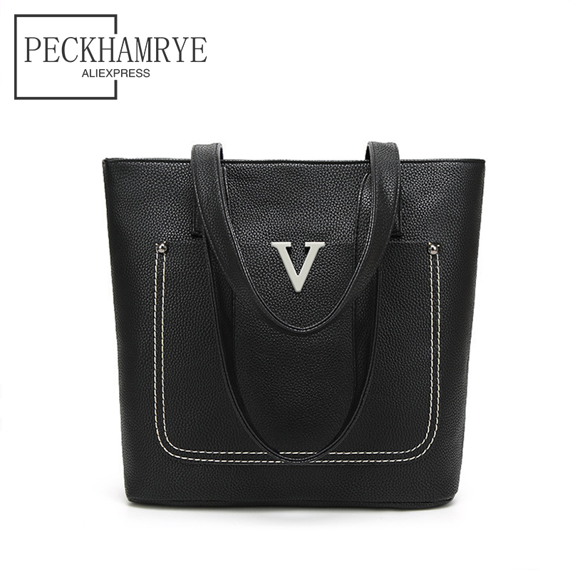 PECKHAMRYE Brand new Women Hand Bag V Messenger bags black Handbags Shoulder Bags Tote Bag Woman Female bolsa feminina