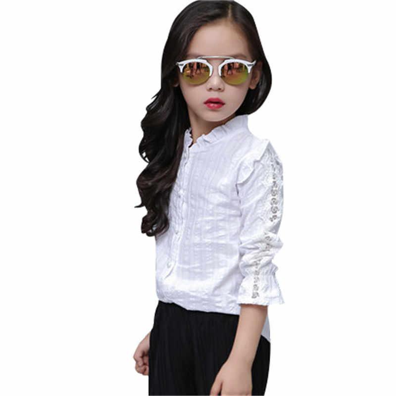 4a50aaf7c28 Школьная блуза для девочек для Обувь для девочек святить из блузка Длинные  рукава дети белый розовый