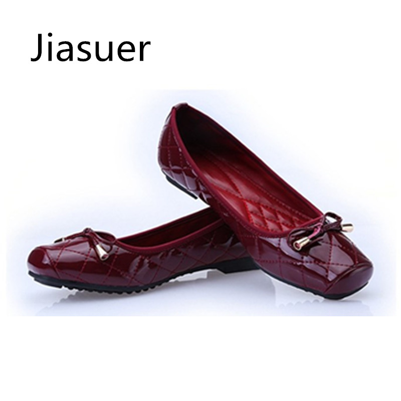 Jiasuer New Arrival Patent Leather Flat Women Ballet Flats Shoes Women Plus Size 41 Black Square Toe Bowtie Shoes Black For Lady 2014 new gold scorpion black patent leather flat women sandals shoes free shipping
