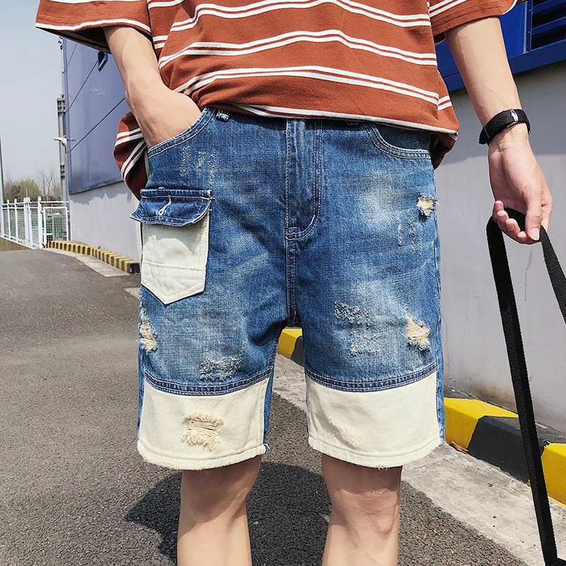 2018 Nyári Új koreai férfi divat Tide Spliced Joker Denim - Férfi ruházat