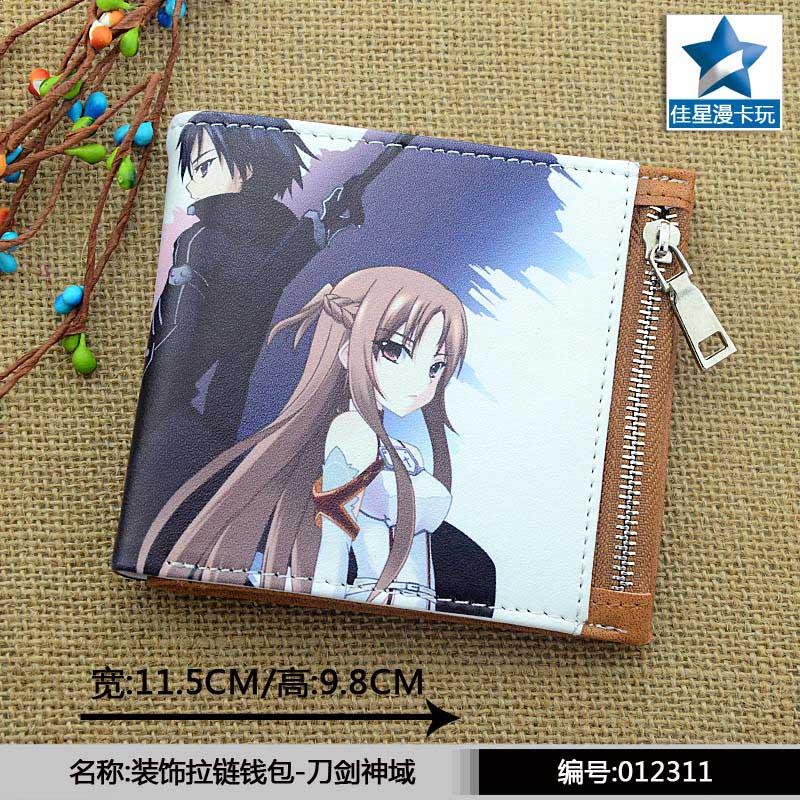 Horizontal Zipper Wallet/Anime Sword Art Online Kirito & Yuuki AsunaShort Frosted Purse horizontal zipper wallet american super hero iron man short frosted purse