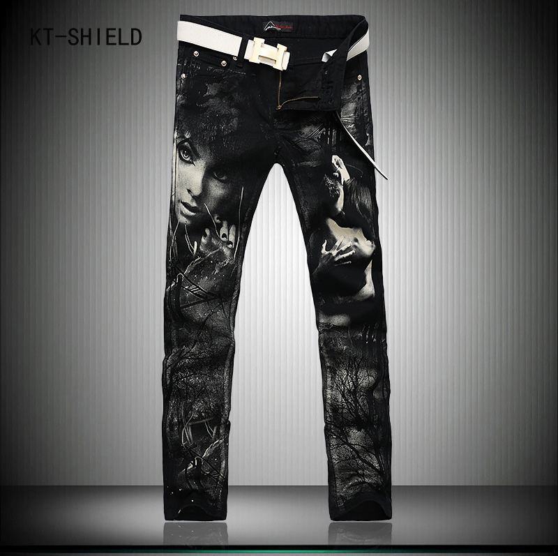 ФОТО Individual Design Fashion Male Colored Drawing Straight Jeans Mens Denim Movie Characters Pattern Printed Jeans Black trousers