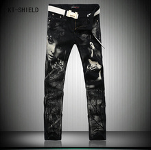 Individual Design Fashion Male Colored Drawing Straight Jeans Mens Denim Movie Characters Pattern Printed Jeans Black trousers